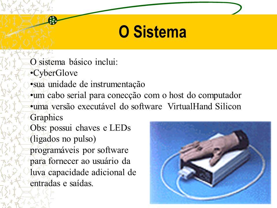 O Sistema O sistema básico inclui: CyberGlove sua unidade de instrumentação um cabo serial para conecção com o host do computador uma versão executáve