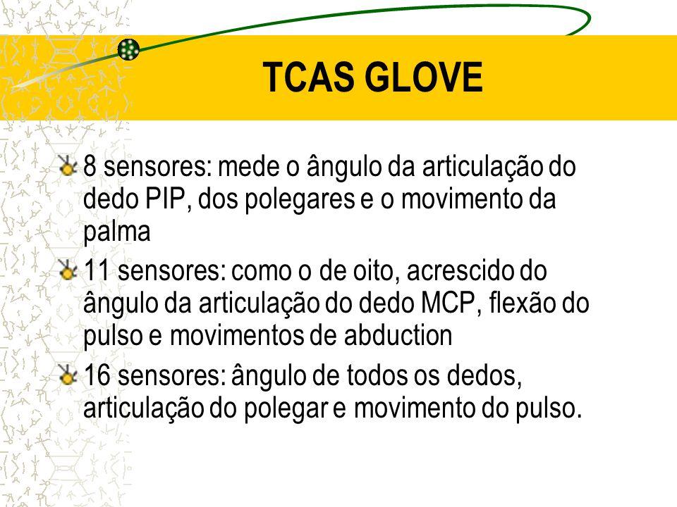 TCAS GLOVE 8 sensores: mede o ângulo da articulação do dedo PIP, dos polegares e o movimento da palma 11 sensores: como o de oito, acrescido do ângulo