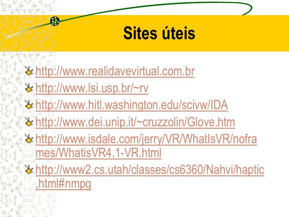 Sites úteis http://www.realidavevirtual.com.br http://www.lsi.usp.br/~rv http://www.hitl.washington.edu/scivw/IDA http://www.dei.unip.it/~cruzzolin/Gl