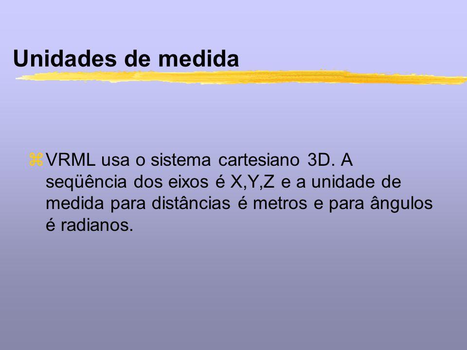 Unidades de medida zVRML usa o sistema cartesiano 3D. A seqüência dos eixos é X,Y,Z e a unidade de medida para distâncias é metros e para ângulos é ra