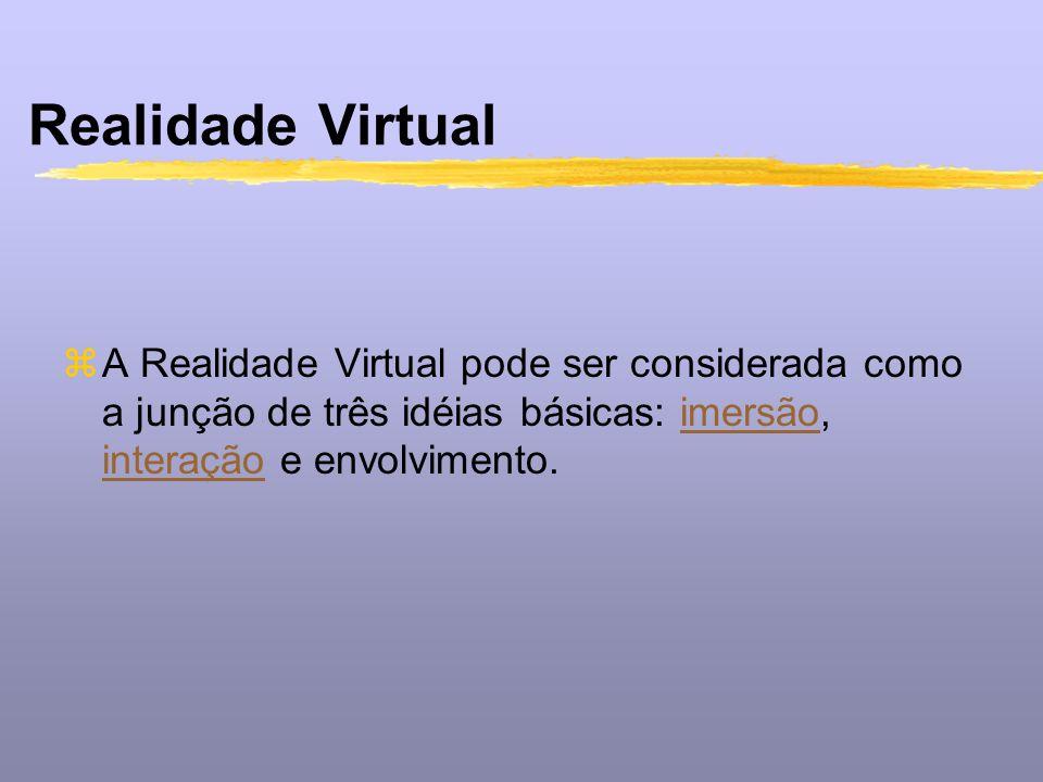 Realidade Virtual zA Realidade Virtual pode ser considerada como a junção de três idéias básicas: imersão, interação e envolvimento.imersão interação
