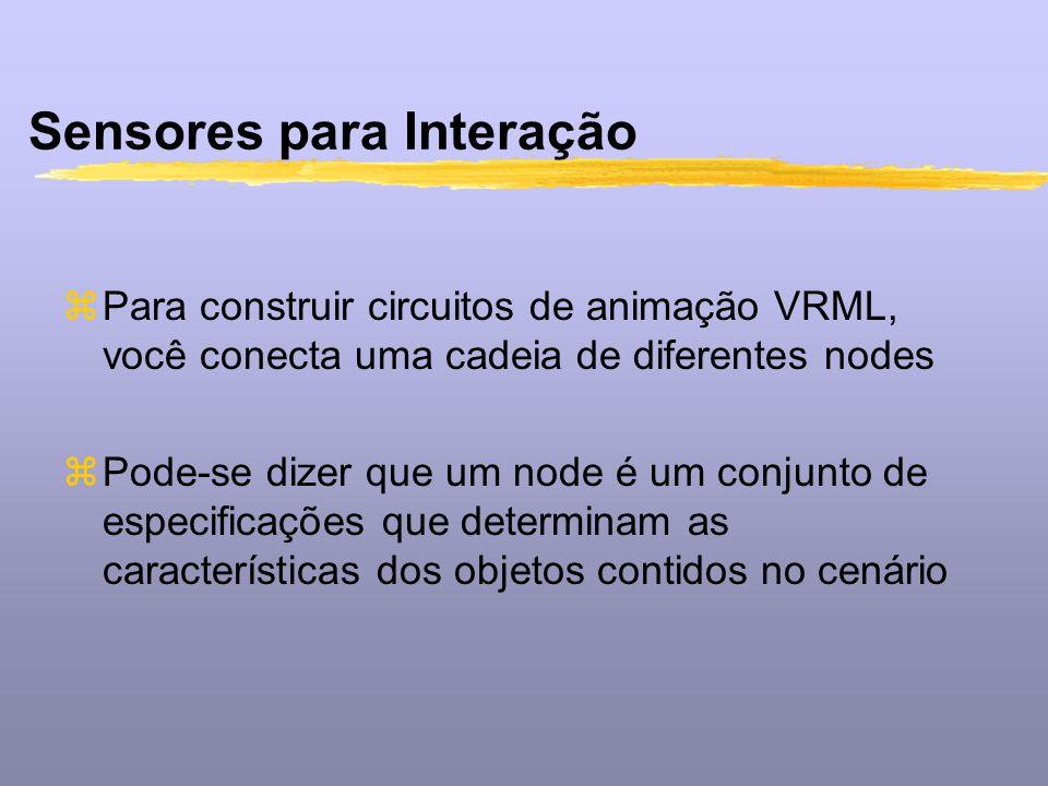 Sensores para Interação zPara construir circuitos de animação VRML, você conecta uma cadeia de diferentes nodes zPode-se dizer que um node é um conjun
