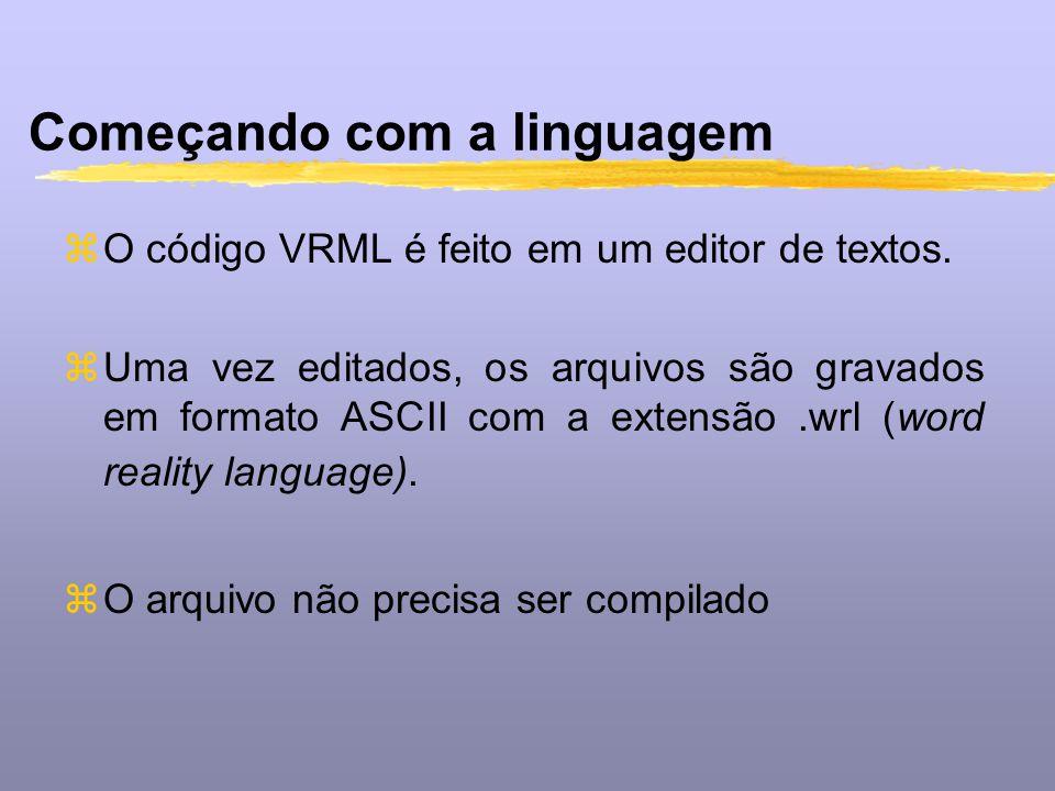 Começando com a linguagem zO código VRML é feito em um editor de textos. zUma vez editados, os arquivos são gravados em formato ASCII com a extensão.w