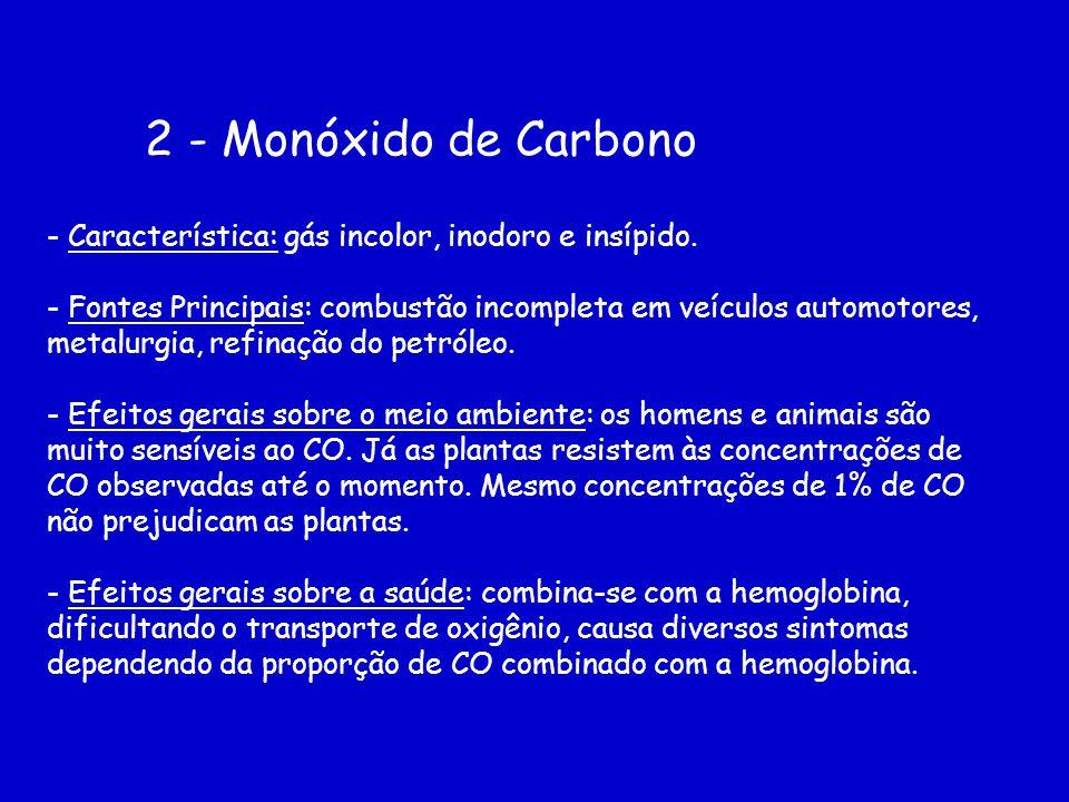 2 - Monóxido de Carbono - Característica: gás incolor, inodoro e insípido. - Fontes Principais: combustão incompleta em veículos automotores, metalurg
