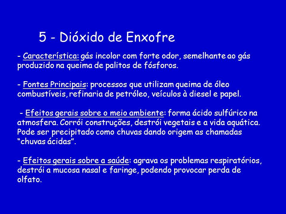 5 - Dióxido de Enxofre - Característica: gás incolor com forte odor, semelhante ao gás produzido na queima de palitos de fósforos. - Fontes Principais