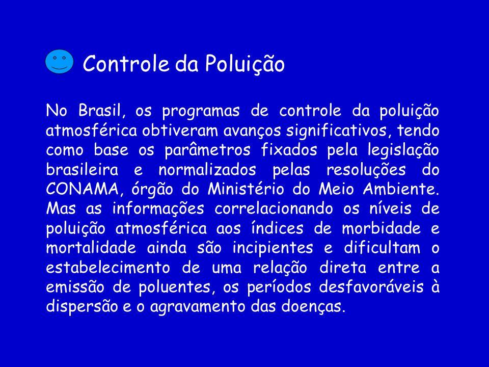 Controle da Poluição No Brasil, os programas de controle da poluição atmosférica obtiveram avanços significativos, tendo como base os parâmetros fixados pela legislação brasileira e normalizados pelas resoluções do CONAMA, órgão do Ministério do Meio Ambiente.