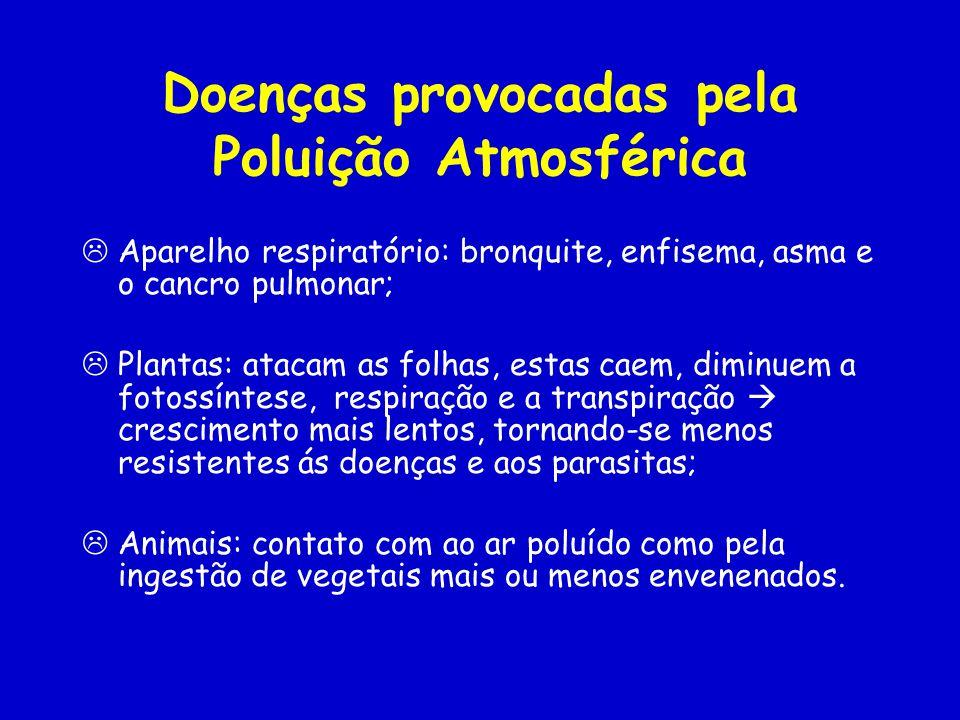 Doenças provocadas pela Poluição Atmosférica Aparelho respiratório: bronquite, enfisema, asma e o cancro pulmonar; Plantas: atacam as folhas, estas caem, diminuem a fotossíntese, respiração e a transpiração crescimento mais lentos, tornando-se menos resistentes ás doenças e aos parasitas; Animais: contato com ao ar poluído como pela ingestão de vegetais mais ou menos envenenados.