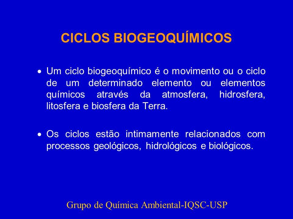 CICLOS BIOGEOQUÍMICOS Um ciclo biogeoquímico é o movimento ou o ciclo de um determinado elemento ou elementos químicos através da atmosfera, hidrosfera, litosfera e biosfera da Terra.