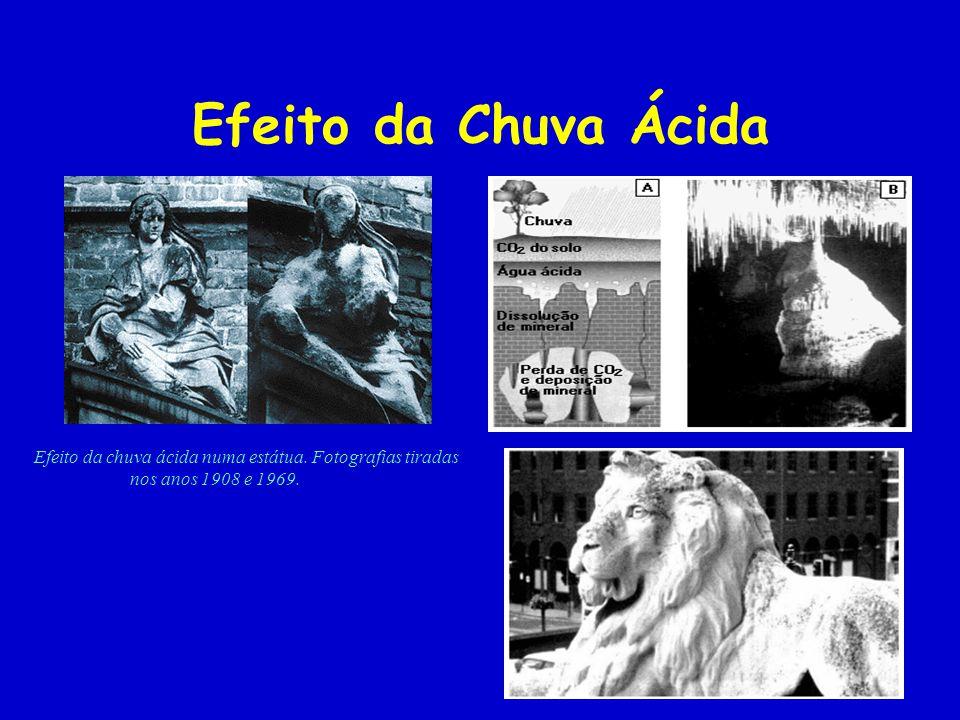 Efeito da Chuva Ácida Efeito da chuva ácida numa estátua. Fotografias tiradas nos anos 1908 e 1969.