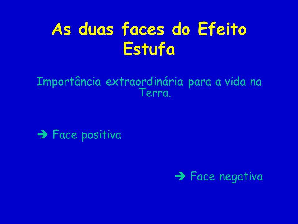 As duas faces do Efeito Estufa Importância extraordinária para a vida na Terra. Face positiva Face negativa
