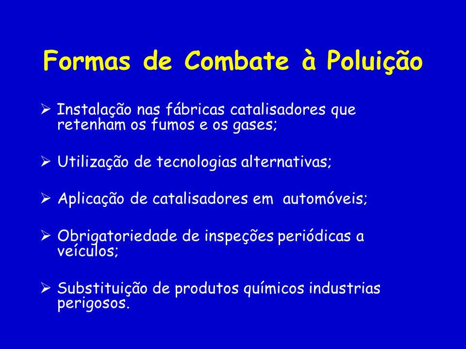 Formas de Combate à Poluição Instalação nas fábricas catalisadores que retenham os fumos e os gases; Utilização de tecnologias alternativas; Aplicação de catalisadores em automóveis; Obrigatoriedade de inspeções periódicas a veículos; Substituição de produtos químicos industrias perigosos.