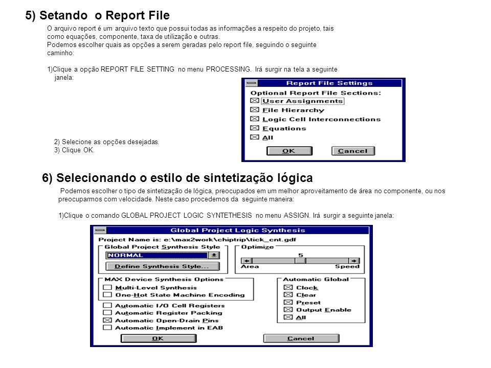 5) Setando o Report File O arquivo report é um arquivo texto que possui todas as informações a respeito do projeto, tais como equações, componente, ta