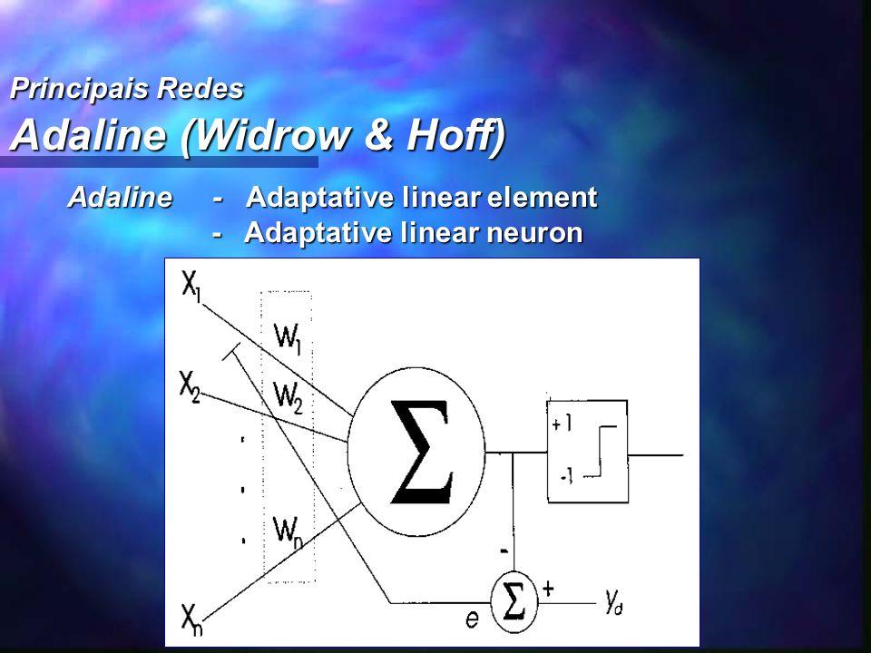 Principais Redes Adaline (Widrow & Hoff) Adaline - Adaptative linear element - Adaptative linear neuron - Adaptative linear neuron