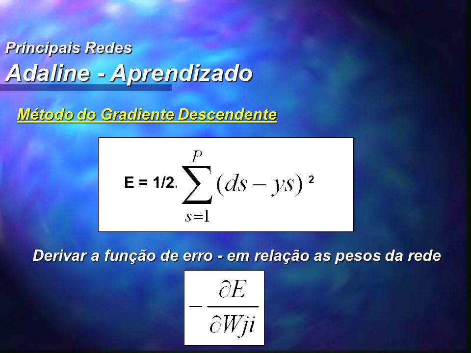 Principais Redes Adaline - Aprendizado Método do Gradiente Descendente E = 1/2. 2 E = 1/2. 2 Derivar a função de erro - em relação as pesos da rede