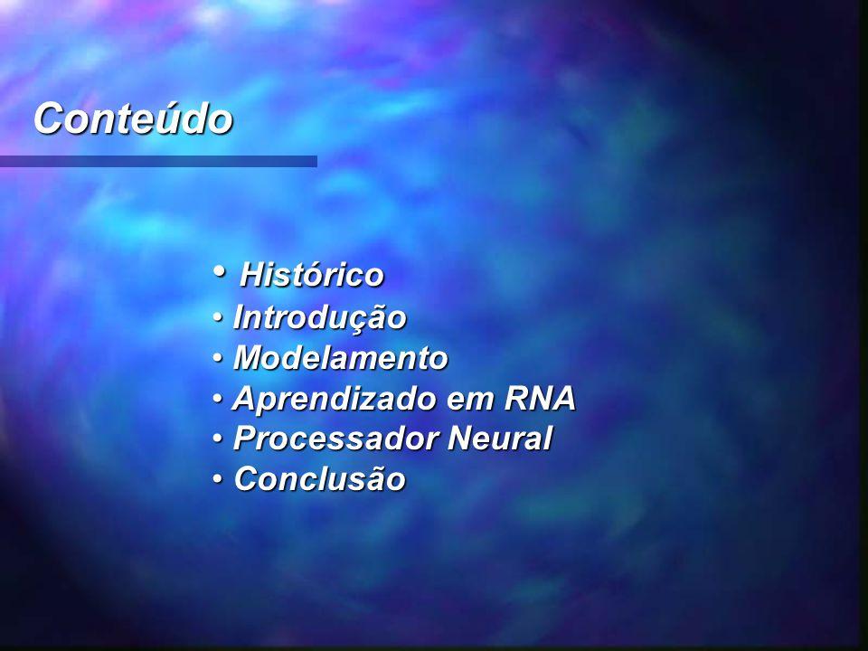 Conteúdo Histórico Histórico Introdução Introdução Modelamento Modelamento Aprendizado em RNA Aprendizado em RNA Processador Neural Processador Neural