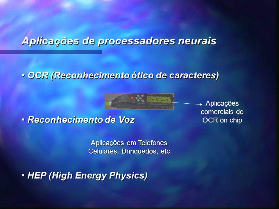 Aplicações de processadores neurais OCR (Reconhecimento ótico de caracteres) OCR (Reconhecimento ótico de caracteres) Reconhecimento de Voz Reconhecim
