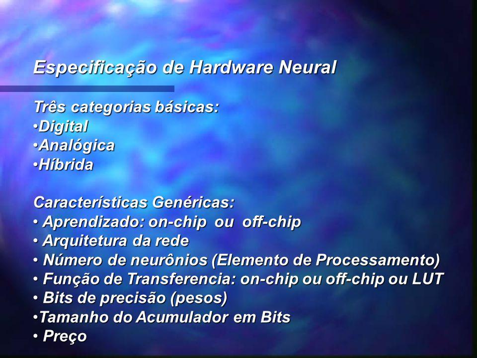 Especificação de Hardware Neural Três categorias básicas: DigitalDigital AnalógicaAnalógica HíbridaHíbrida Características Genéricas: Aprendizado: on-