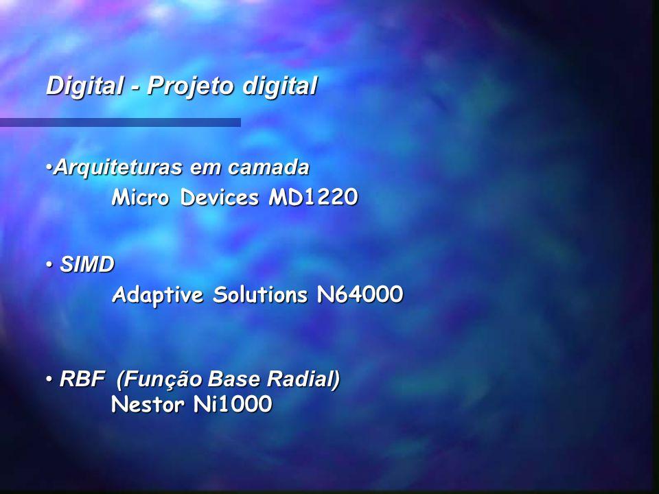 Digital - Projeto digital Arquiteturas em camadaArquiteturas em camada Micro Devices MD1220 SIMD SIMD Adaptive Solutions N64000 RBF (Função Base Radia