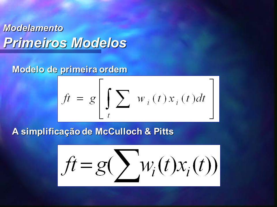 Modelamento Primeiros Modelos Modelo de primeira ordem A simplificação de McCulloch & Pitts