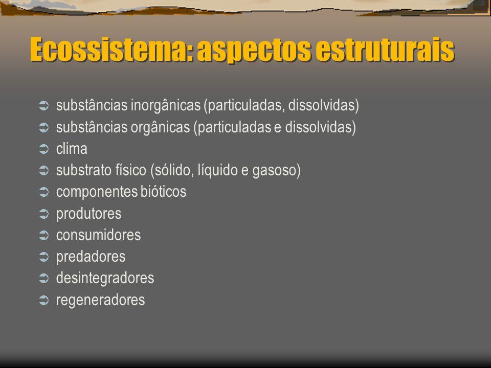 Ecossistema: aspectos estruturais substâncias inorgânicas (particuladas, dissolvidas) substâncias orgânicas (particuladas e dissolvidas) clima substrato físico (sólido, líquido e gasoso) componentes bióticos produtores consumidores predadores desintegradores regeneradores