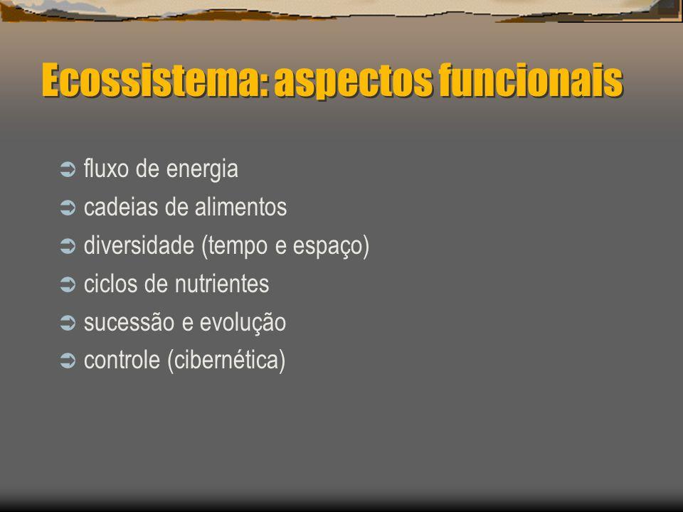 Ecossistema: aspectos estruturais substâncias inorgânicas (particuladas, dissolvidas) substâncias orgânicas (particuladas e dissolvidas) clima substra