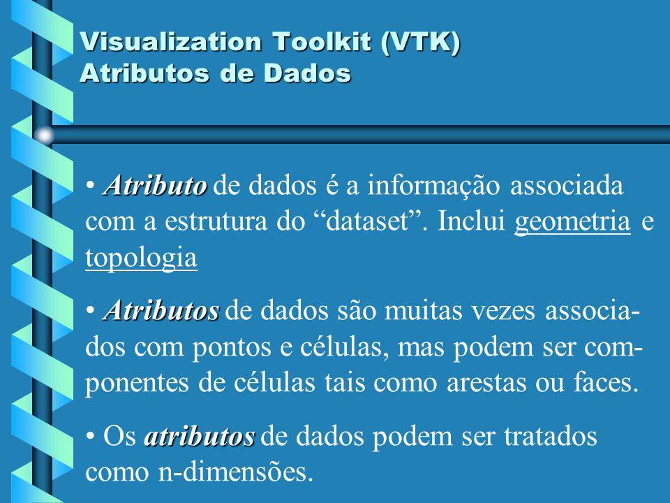 Visualization Toolkit (VTK) Atributos de Dados Atributo Atributo de dados é a informação associada com a estrutura do dataset. Inclui geometria e topo