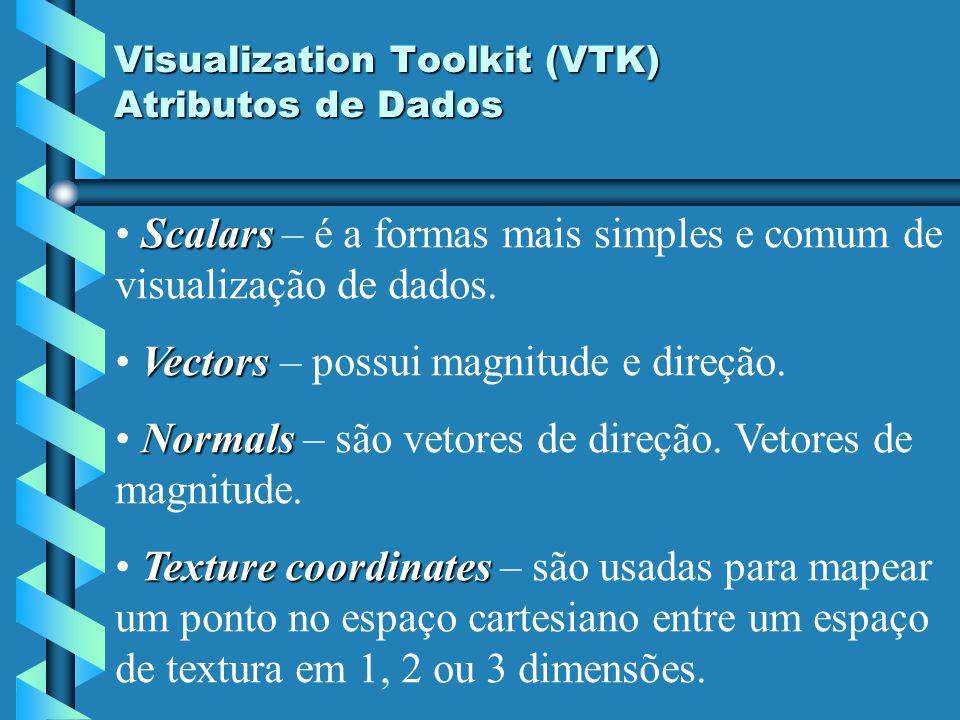 Visualization Toolkit (VTK) Atributos de Dados Scalars Scalars – é a formas mais simples e comum de visualização de dados. Vectors Vectors – possui ma