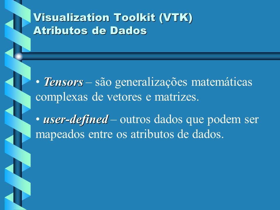 Visualization Toolkit (VTK) Atributos de Dados Tensors Tensors – são generalizações matemáticas complexas de vetores e matrizes. user-defined user-def