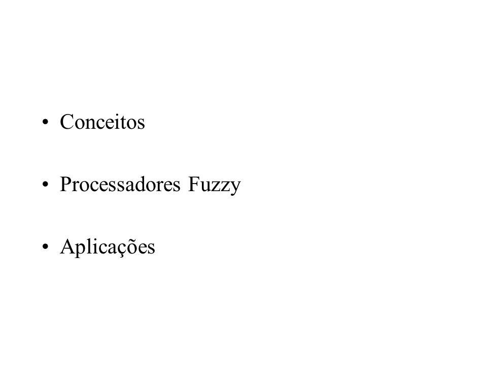 Chip de Inferência –Regras com 3 condições e uma conclusão –Saída analógica, usando um barramento de 25 vias –Diodos e resistores para ajuste das funções de pertinência Chip de Defuzificação –Soma lógica das conclusões –Defuzificação