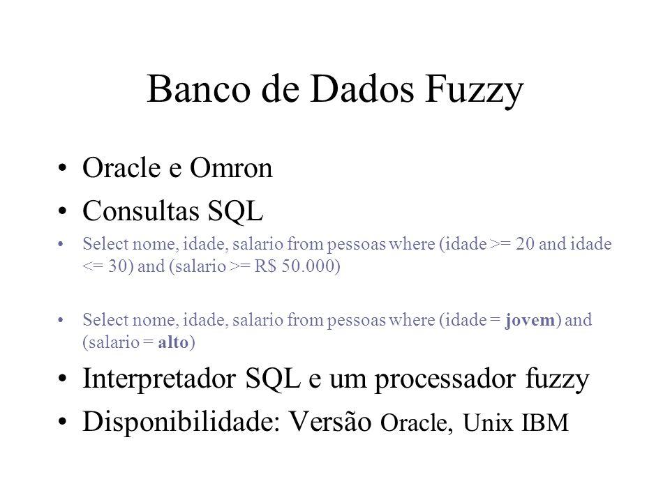Banco de Dados Fuzzy Oracle e Omron Consultas SQL Select nome, idade, salario from pessoas where (idade >= 20 and idade = R$ 50.000) Select nome, idad