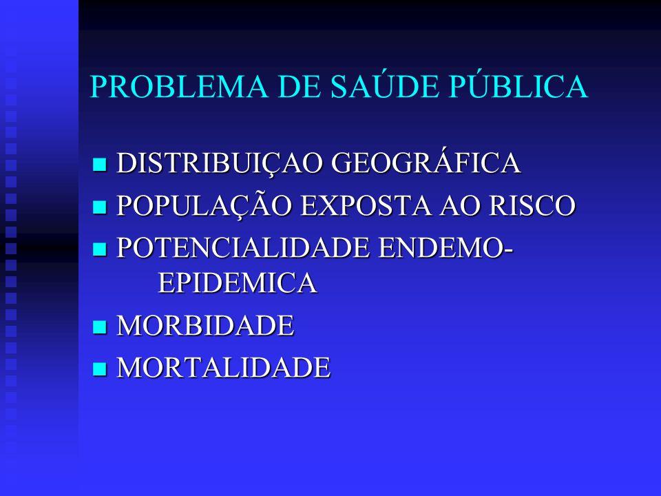PROBLEMA DE SAÚDE PÚBLICA DISTRIBUIÇAO GEOGRÁFICA DISTRIBUIÇAO GEOGRÁFICA POPULAÇÃO EXPOSTA AO RISCO POPULAÇÃO EXPOSTA AO RISCO POTENCIALIDADE ENDEMO- EPIDEMICA POTENCIALIDADE ENDEMO- EPIDEMICA MORBIDADE MORBIDADE MORTALIDADE MORTALIDADE