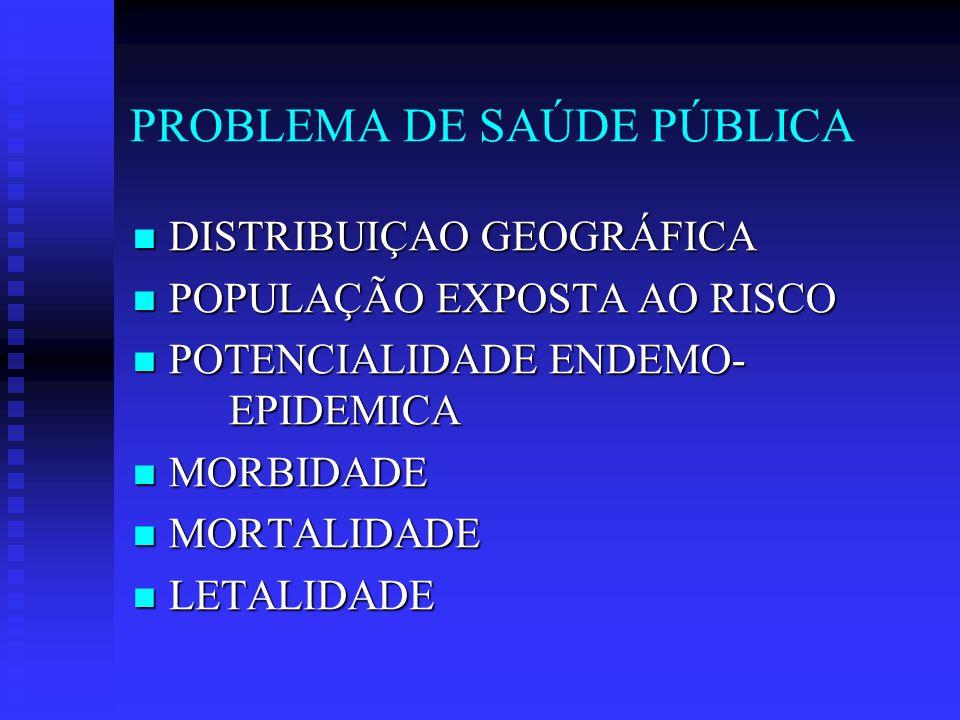 PROBLEMA DE SAÚDE PÚBLICA DISTRIBUIÇAO GEOGRÁFICA DISTRIBUIÇAO GEOGRÁFICA POPULAÇÃO EXPOSTA AO RISCO POPULAÇÃO EXPOSTA AO RISCO POTENCIALIDADE ENDEMO- EPIDEMICA POTENCIALIDADE ENDEMO- EPIDEMICA MORBIDADE MORBIDADE MORTALIDADE MORTALIDADE LETALIDADE LETALIDADE