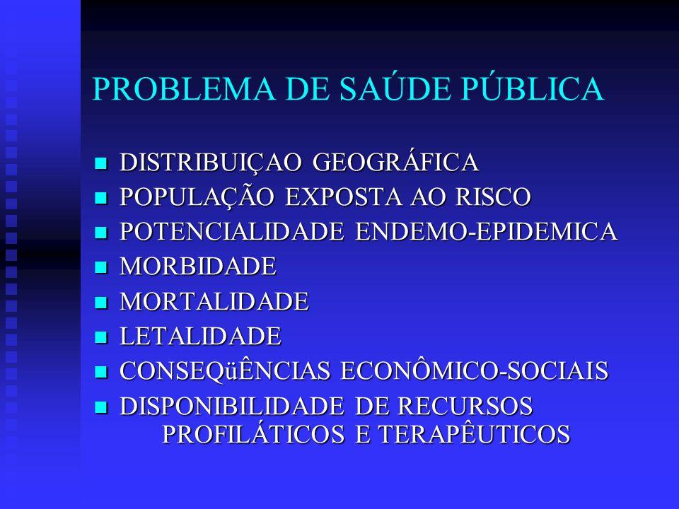 PROBLEMA DE SAÚDE PÚBLICA DISTRIBUIÇAO GEOGRÁFICA DISTRIBUIÇAO GEOGRÁFICA POPULAÇÃO EXPOSTA AO RISCO POPULAÇÃO EXPOSTA AO RISCO POTENCIALIDADE ENDEMO-EPIDEMICA POTENCIALIDADE ENDEMO-EPIDEMICA MORBIDADE MORBIDADE MORTALIDADE MORTALIDADE LETALIDADE LETALIDADE CONSEQüÊNCIAS ECONÔMICO-SOCIAIS CONSEQüÊNCIAS ECONÔMICO-SOCIAIS DISPONIBILIDADE DE RECURSOS PROFILÁTICOS E TERAPÊUTICOS DISPONIBILIDADE DE RECURSOS PROFILÁTICOS E TERAPÊUTICOS