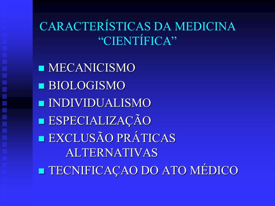 CARACTERÍSTICAS DA MEDICINA CIENTÍFICA MECANICISMO MECANICISMO BIOLOGISMO BIOLOGISMO INDIVIDUALISMO INDIVIDUALISMO ESPECIALIZAÇÃO ESPECIALIZAÇÃO EXCLUSÃO PRÁTICAS ALTERNATIVAS EXCLUSÃO PRÁTICAS ALTERNATIVAS TECNIFICAÇAO DO ATO MÉDICO TECNIFICAÇAO DO ATO MÉDICO