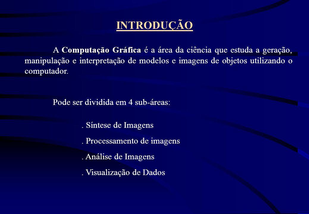 INTRODUÇÃO Computação Gráfica A Computação Gráfica é a área da ciência que estuda a geração, manipulação e interpretação de modelos e imagens de objet