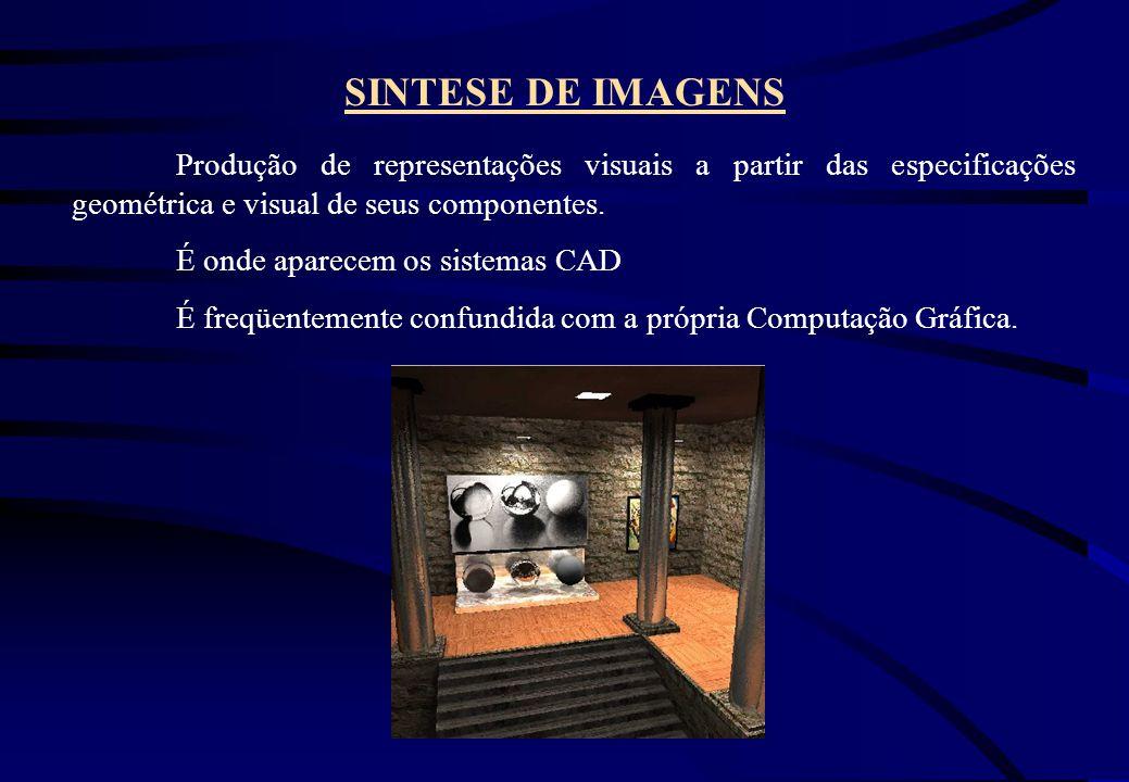 SINTESE DE IMAGENS Produção de representações visuais a partir das especificações geométrica e visual de seus componentes. É onde aparecem os sistemas