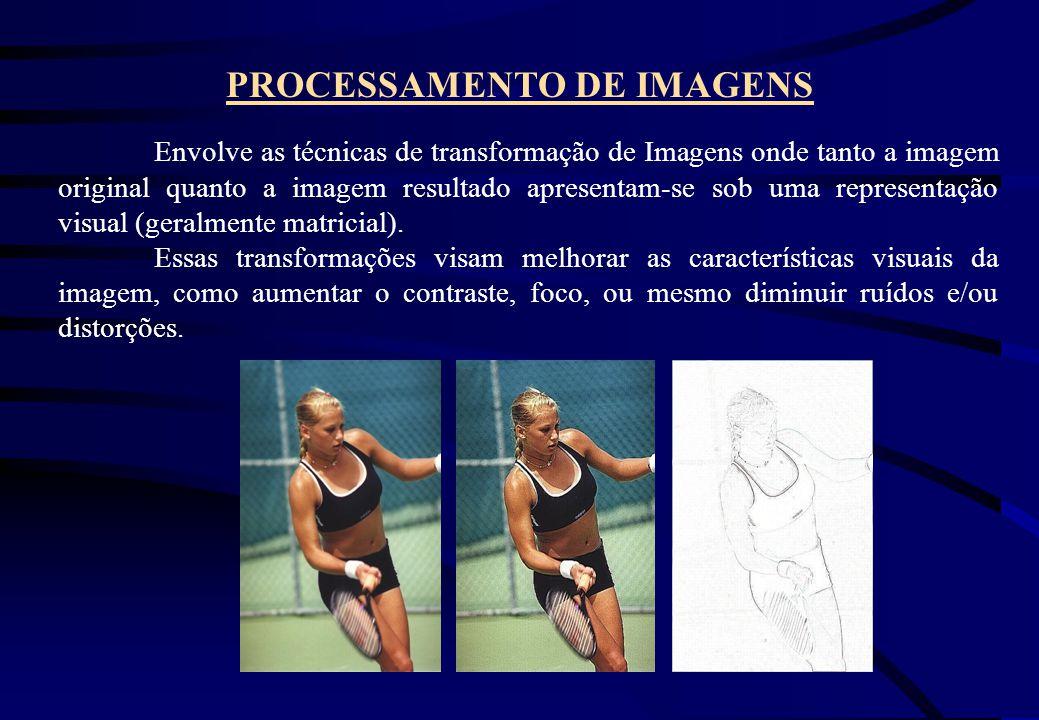 PROCESSAMENTO DE IMAGENS Envolve as técnicas de transformação de Imagens onde tanto a imagem original quanto a imagem resultado apresentam-se sob uma