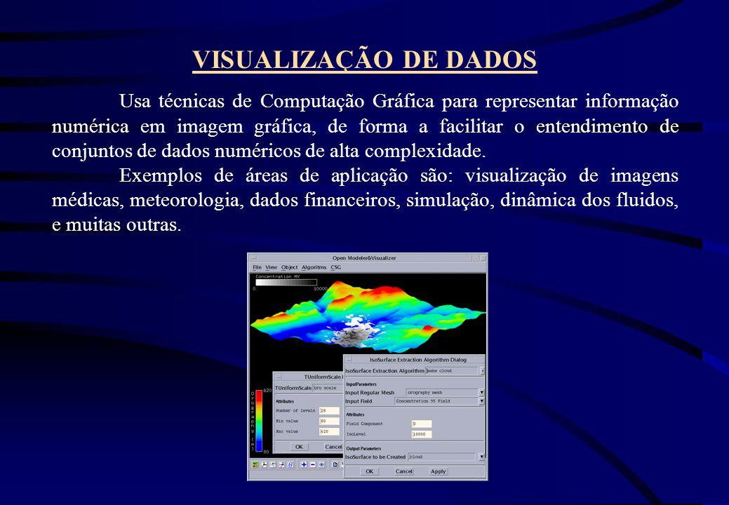 VISUALIZAÇÃO DE DADOS Usa técnicas de Computação Gráfica para representar informação numérica em imagem gráfica, de forma a facilitar o entendimento d