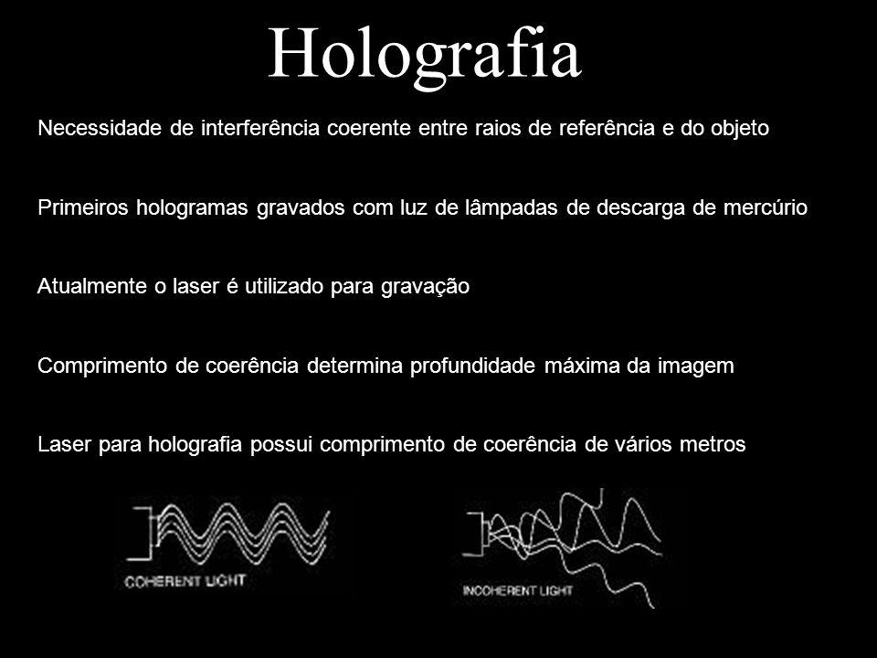 Holografia Necessidade de interferência coerente entre raios de referência e do objeto Primeiros hologramas gravados com luz de lâmpadas de descarga d
