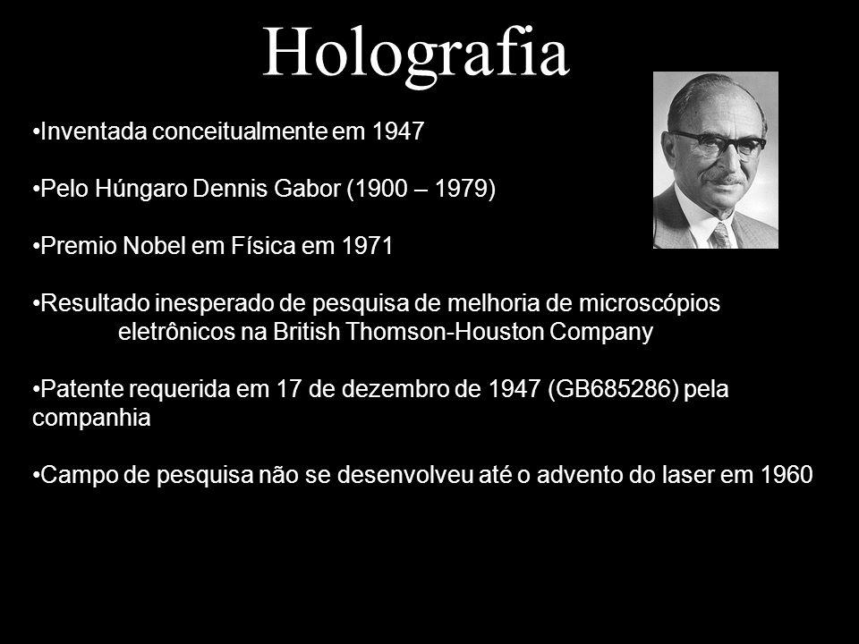 Holografia Bibliografia Artigos: Holography, 1948 – 1971 – Dennis Gabor – IEEE Press An Introduction to the Principle and Applications of Holography – Joseph W.