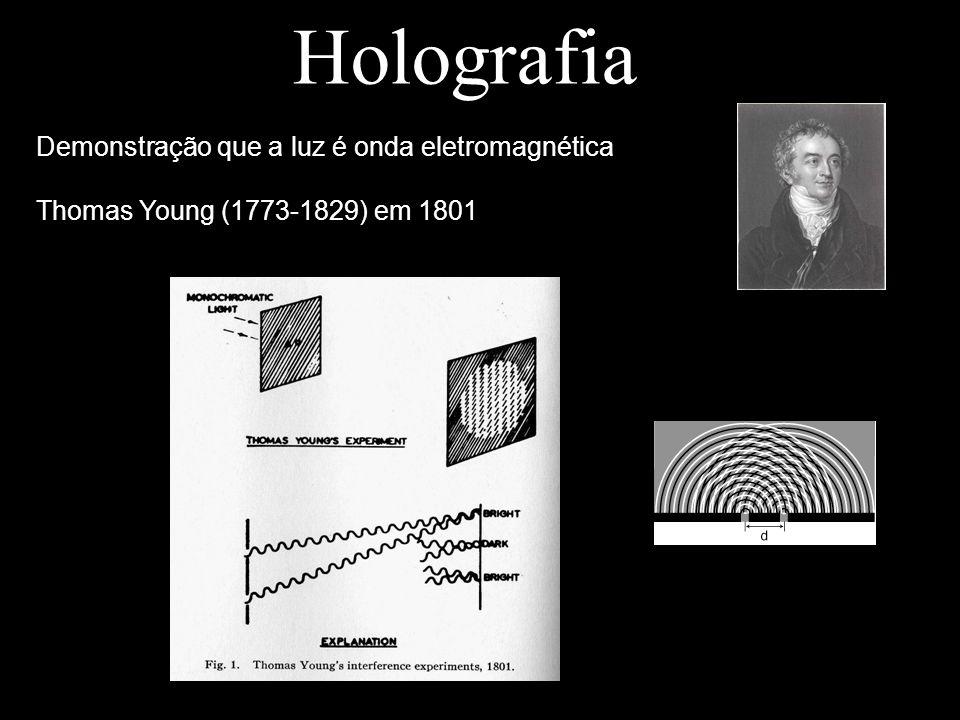 Holografia Demonstração que a luz é onda eletromagnética Thomas Young (1773-1829) em 1801