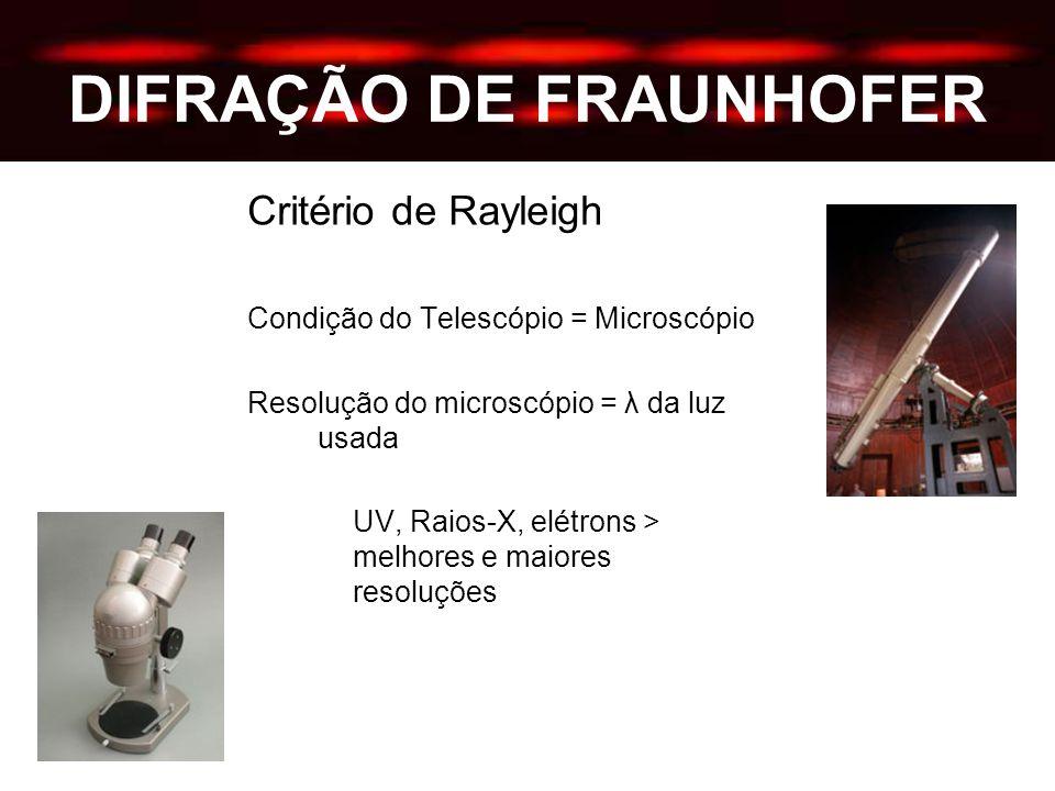 DIFRAÇÃO DE FRAUNHOFER Critério de Rayleigh Condição do Telescópio = Microscópio Resolução do microscópio = λ da luz usada UV, Raios-X, elétrons > melhores e maiores resoluções