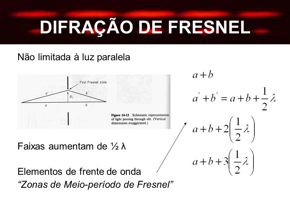 DIFRAÇÃO DE FRESNEL Não limitada à luz paralela Faixas aumentam de ½ λ Elementos de frente de onda Zonas de Meio-período de Fresnel