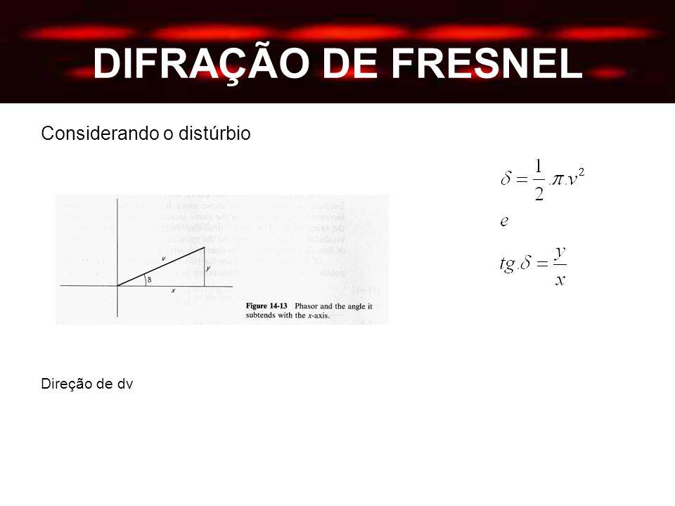 DIFRAÇÃO DE FRESNEL Considerando o distúrbio Direção de dv