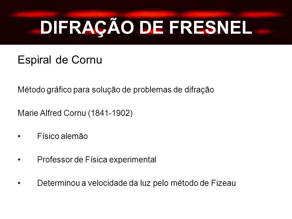 DIFRAÇÃO DE FRESNEL Espiral de Cornu Método gráfico para solução de problemas de difração Marie Alfred Cornu (1841-1902) Físico alemão Professor de Física experimental Determinou a velocidade da luz pelo método de Fizeau