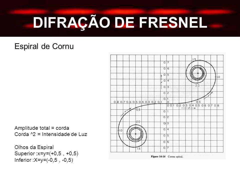 DIFRAÇÃO DE FRESNEL Espiral de Cornu Amplitude total = corda Corda ^2 = Intensidade de Luz Olhos da Espiral Superior :x=y=(+0,5, +0,5) Inferior :X=y=(-0,5, -0,5)