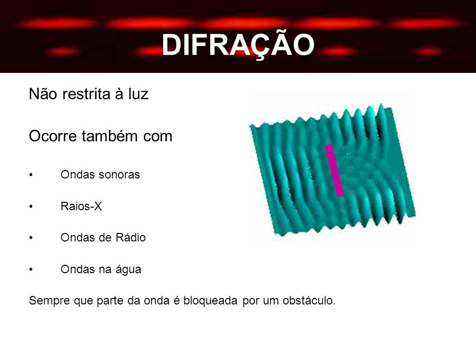DIFRAÇÃO Não restrita à luz Ocorre também com Ondas sonoras Raios-X Ondas de Rádio Ondas na água Sempre que parte da onda é bloqueada por um obstáculo.