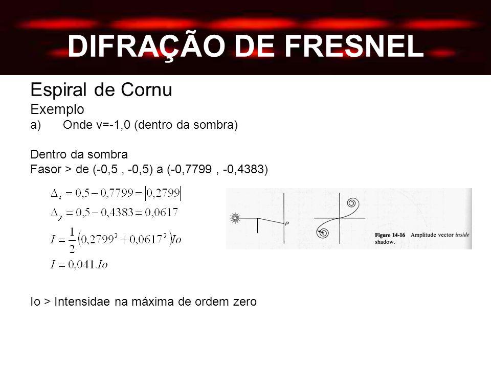 DIFRAÇÃO DE FRESNEL Espiral de Cornu Exemplo a)Onde v=-1,0 (dentro da sombra) Dentro da sombra Fasor > de (-0,5, -0,5) a (-0,7799, -0,4383) Io > Intensidae na máxima de ordem zero