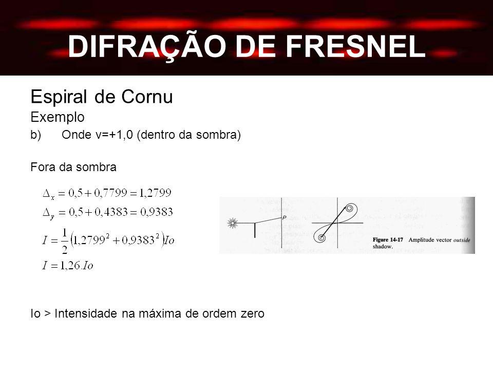 DIFRAÇÃO DE FRESNEL Espiral de Cornu Exemplo b) Onde v=+1,0 (dentro da sombra) Fora da sombra Io > Intensidade na máxima de ordem zero