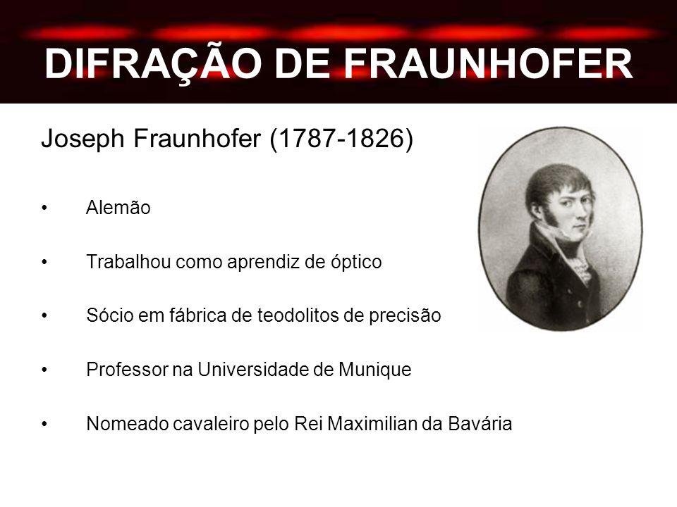 DIFRAÇÃO DE FRAUNHOFER Joseph Fraunhofer (1787-1826) Alemão Trabalhou como aprendiz de óptico Sócio em fábrica de teodolitos de precisão Professor na Universidade de Munique Nomeado cavaleiro pelo Rei Maximilian da Bavária